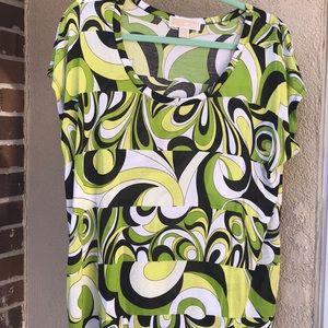 Michael Kors green and black blouse